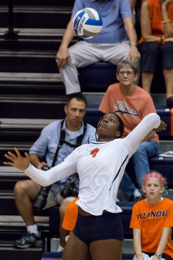 Illinois opposite hitter Naya Crittenden gets ready to spike the ball during the match against Arkansas at Huff Hall on August 26. The Illini won 3-0.