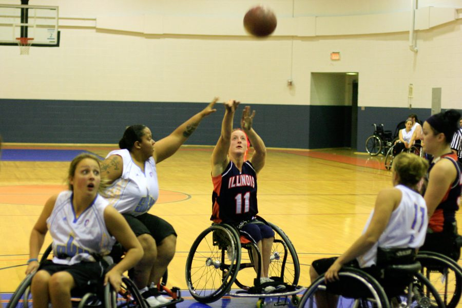 Illinois' Tatyana McFadden (11) shoots the ball during the wheelchair basketball game against Chicago Sky for the Illini Classic Wheelchair Basketball Tournament that was held  in the ARC on Saturday, November 7, 2009.