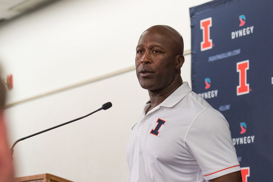 Illinois+head+coach+Lovie+Smith+answers+questions+during+the+press+conference+after+the+game+against+Western+Michigan+at+Memorial+Stadium+on+September+17.+The+Illini+lost+34-10.+Lovie+has+lost+two+of+his+first+three+games+as+head+coach+of+Illinois.