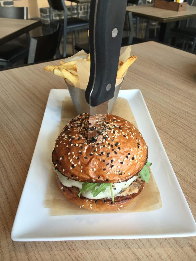 A burger at the new gastropub, The Hub near campus.