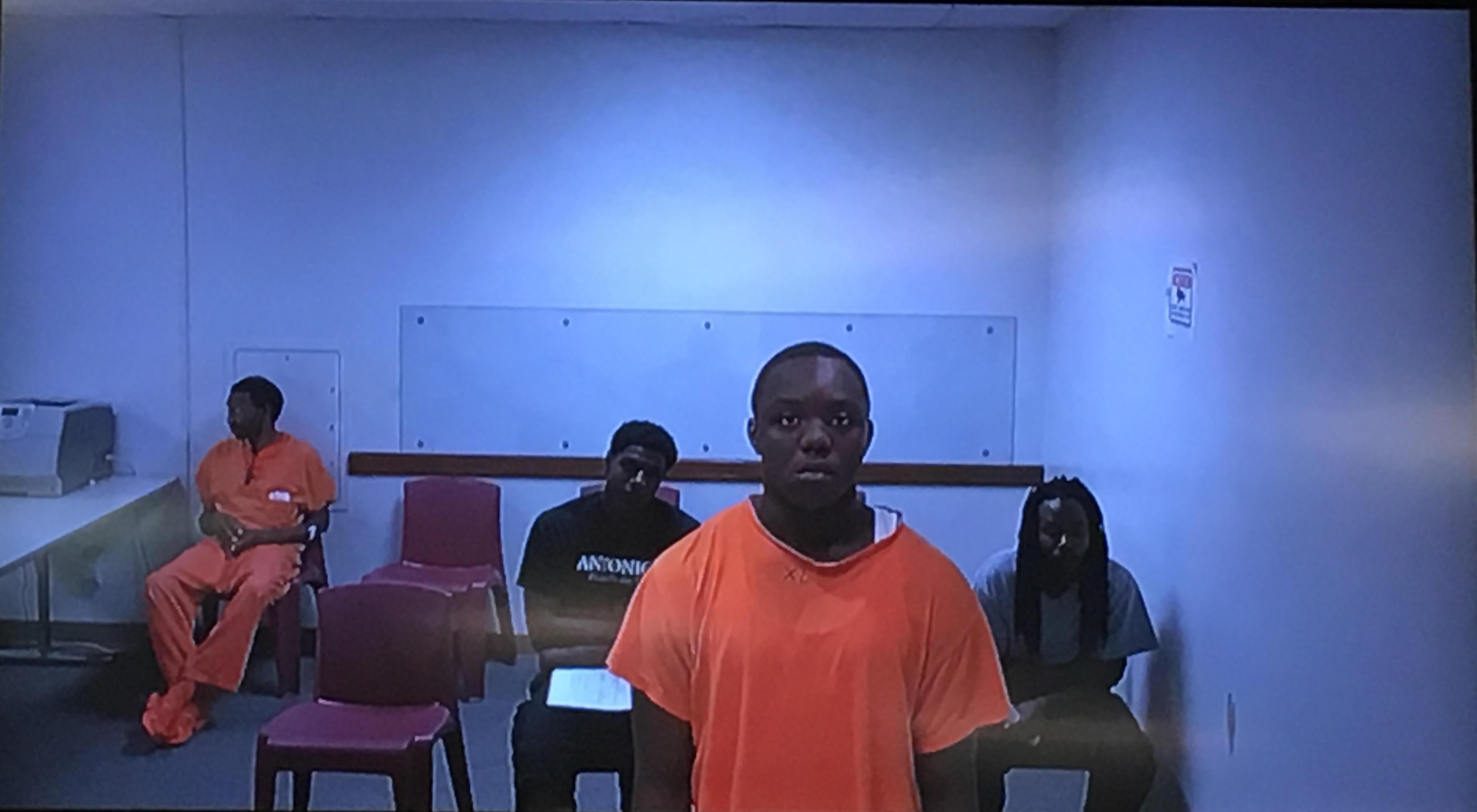 Robbie Patton, 18-years-old at the time, appears on video from the Department of Corrections during his arraignment at the Champaign County Courthouse Friday, Sept. 30, 2016. A jury found Patton guilty of first-degree murder and three counts of aggravated battery with a firearm on Thursday.