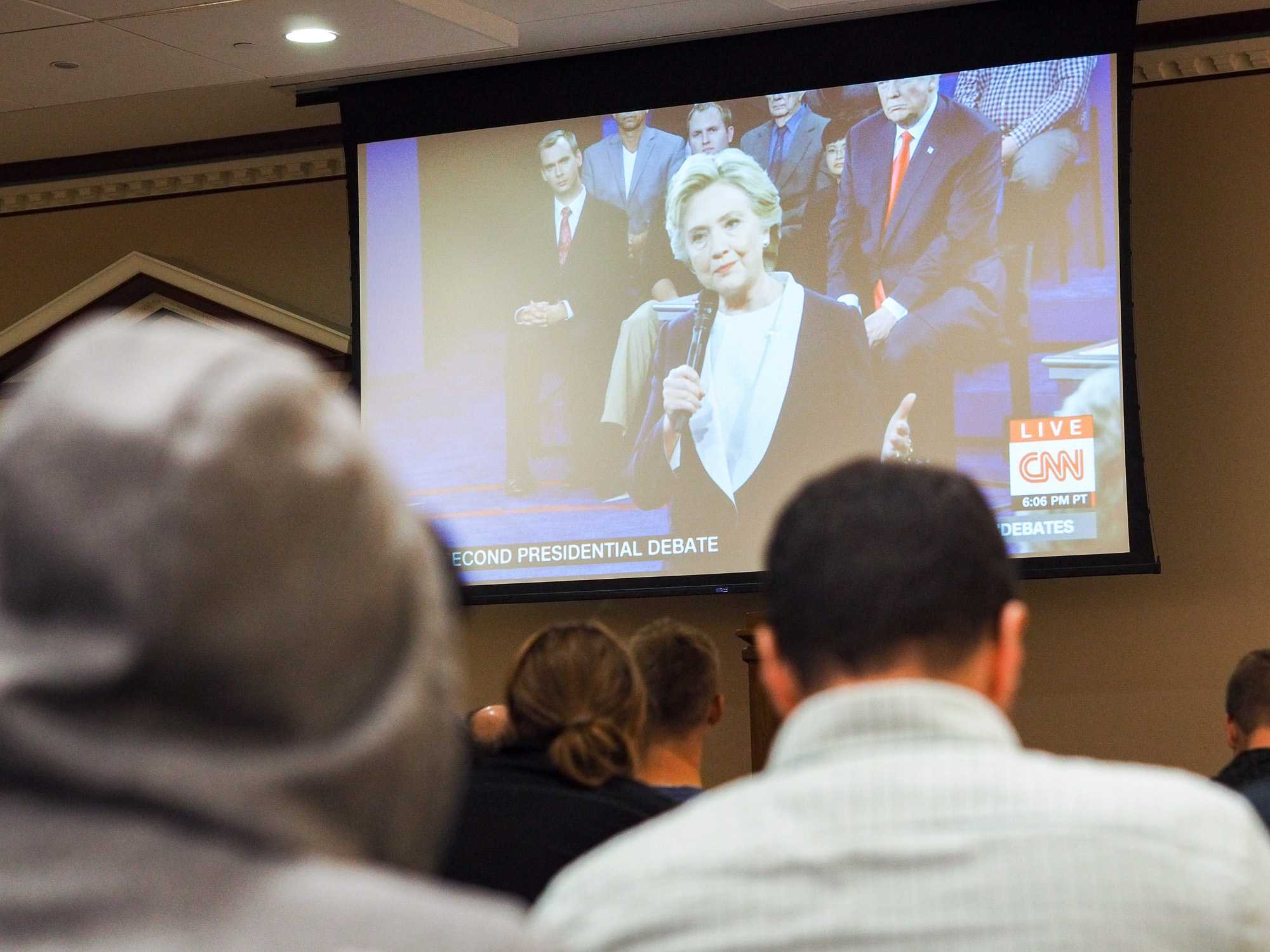 Students congregate at Illini Union to watch the second Presidential Debate between Democratic nominee Hilary Clinton and Republican nominee Donald Trump. October 9, 2016.