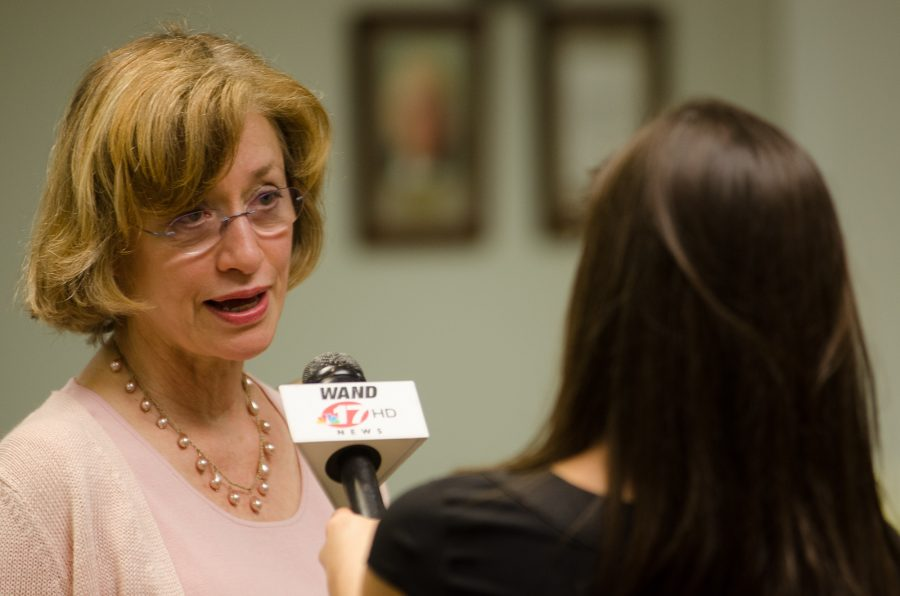 Mayor Laurel Prussing of Urbana is interviewed by media at Brookens Adminstrative Center Tuesday night.  Mayor Prussing won the mayoral election and will serve another four years in office.