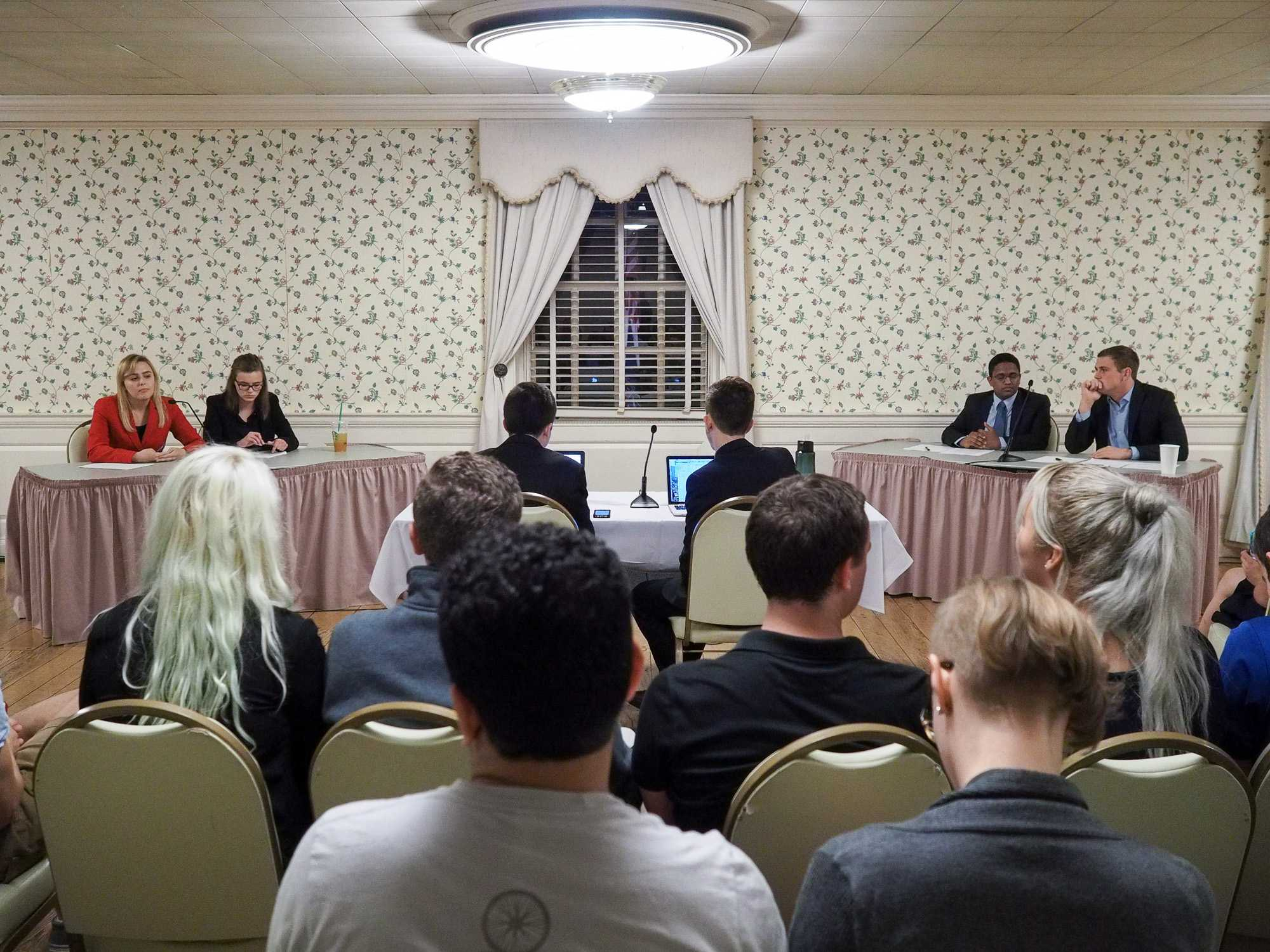 Illini Student Senate members hold Republican-Democratic debate in the Union. October 6, 2016.