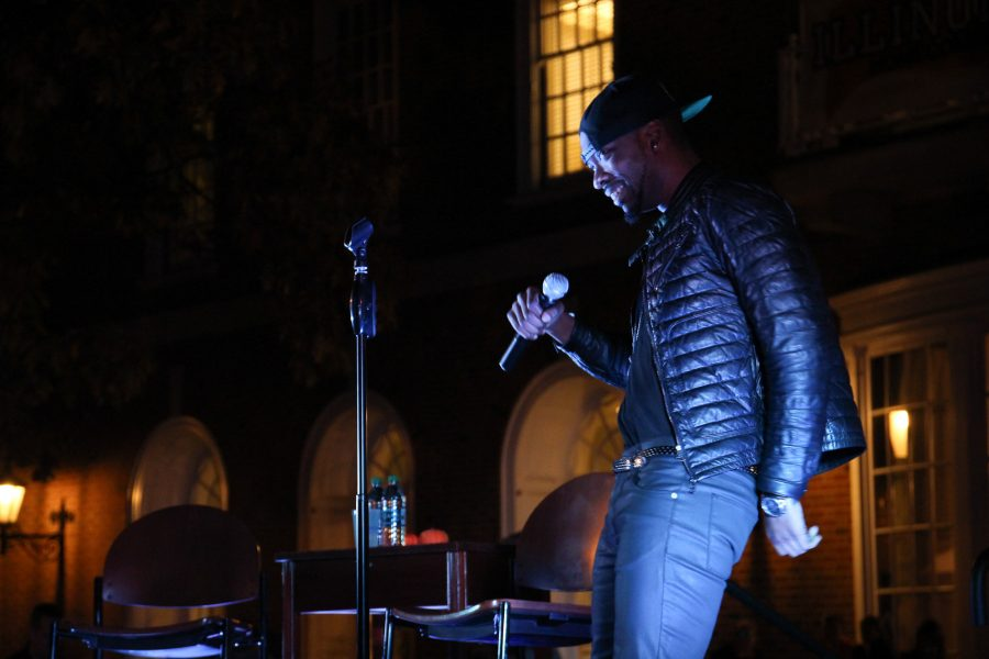 Jay Pharoah performs standup in front of the Illini Union as part of the Univeristy of Illinois Urbana-Champaign's Homecoming 2016 Week Comedy Show on Tuesday, October 25, 2016 in Urbana, IL.