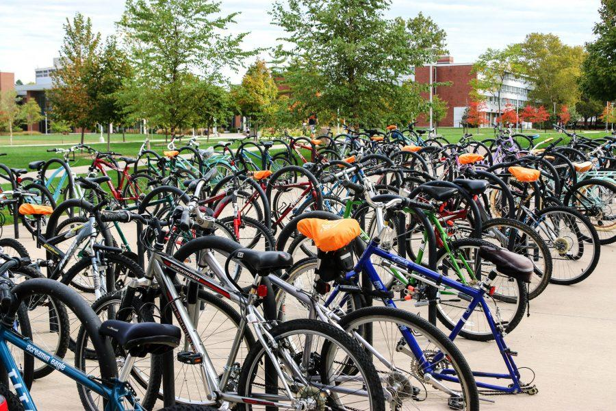 Bicycles+are+locked+up+outside+Hopkins+Hall+on+October+19th%2C+2016%2C+which+marks+the+biannual+Campus+Bicycle+Census+where+volunteers+count+all+of+the+bicycles+on+campus.