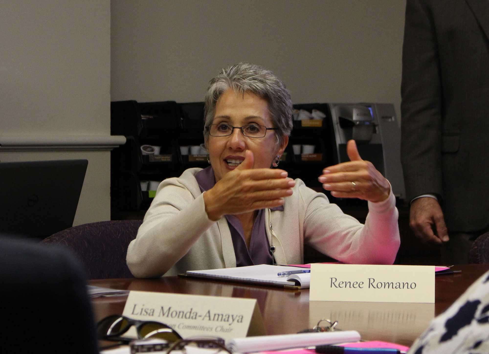 Vice Chancellor Renee Romano speaks at the Senate Executive Committee meeting on Monday, October 3. Romano has decided to repeat the student trustee election, which will be held from April 26 to April 27.