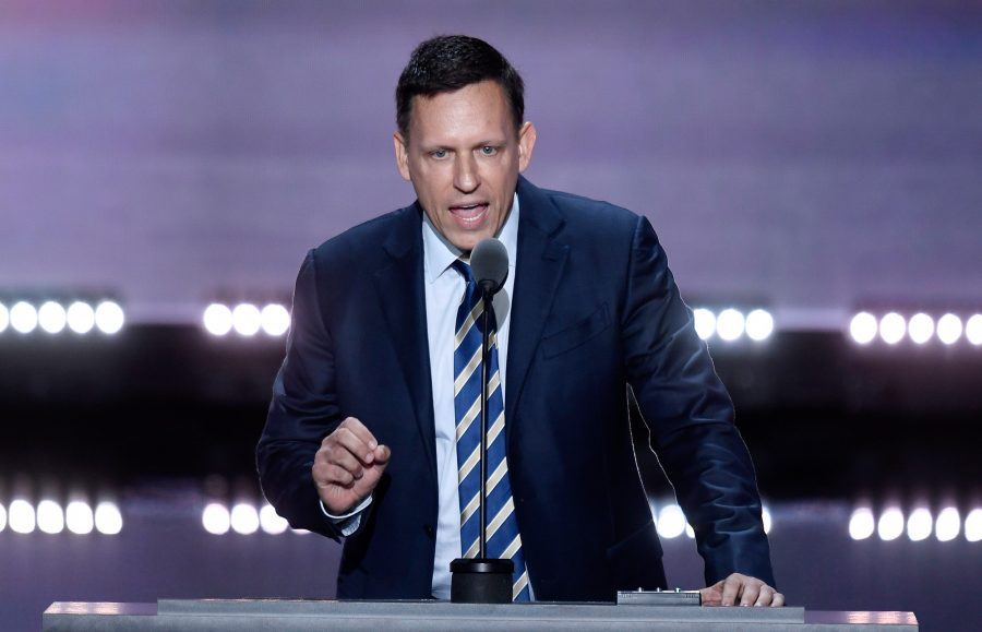 Entrepreneur Peter Thiel speaks on the last day of the Republican National Convention on Thursday, July 21, 2016, at Quicken Loans Arena in Cleveland. (Olivier Douliery/Abaca Press/TNS)