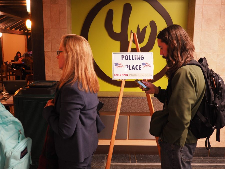 Students+line+up+at+the+polls+in+the+Union+basement+for+early+voting.+