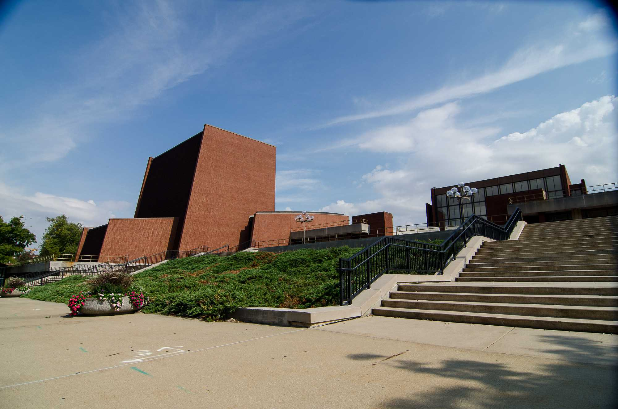 The Goodwin street entrance of the Krannert Center.
