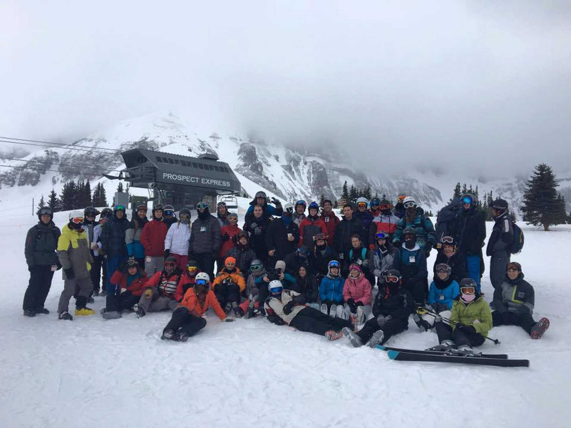The ski and snowboarding club pictured on their 2016 Telluride trip.