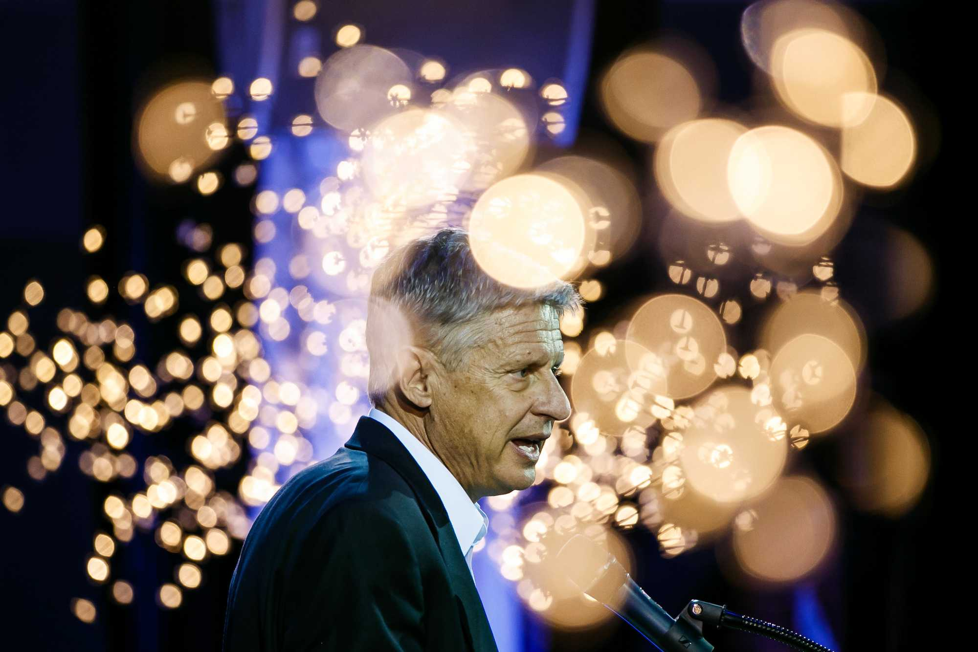 Gary Johnson, the Libertarian candidate for president, speaks at a campaign event in Los Angeles on Oct. 19. (Marcus Yam/Los Angeles Times/TNS)