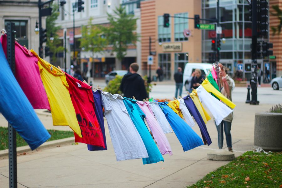 The+Clothesline+Project+served+as+an+anonymous+outlet+for+domestic+violence+survivors+by+the+Alma+Mater+on+Thursday.