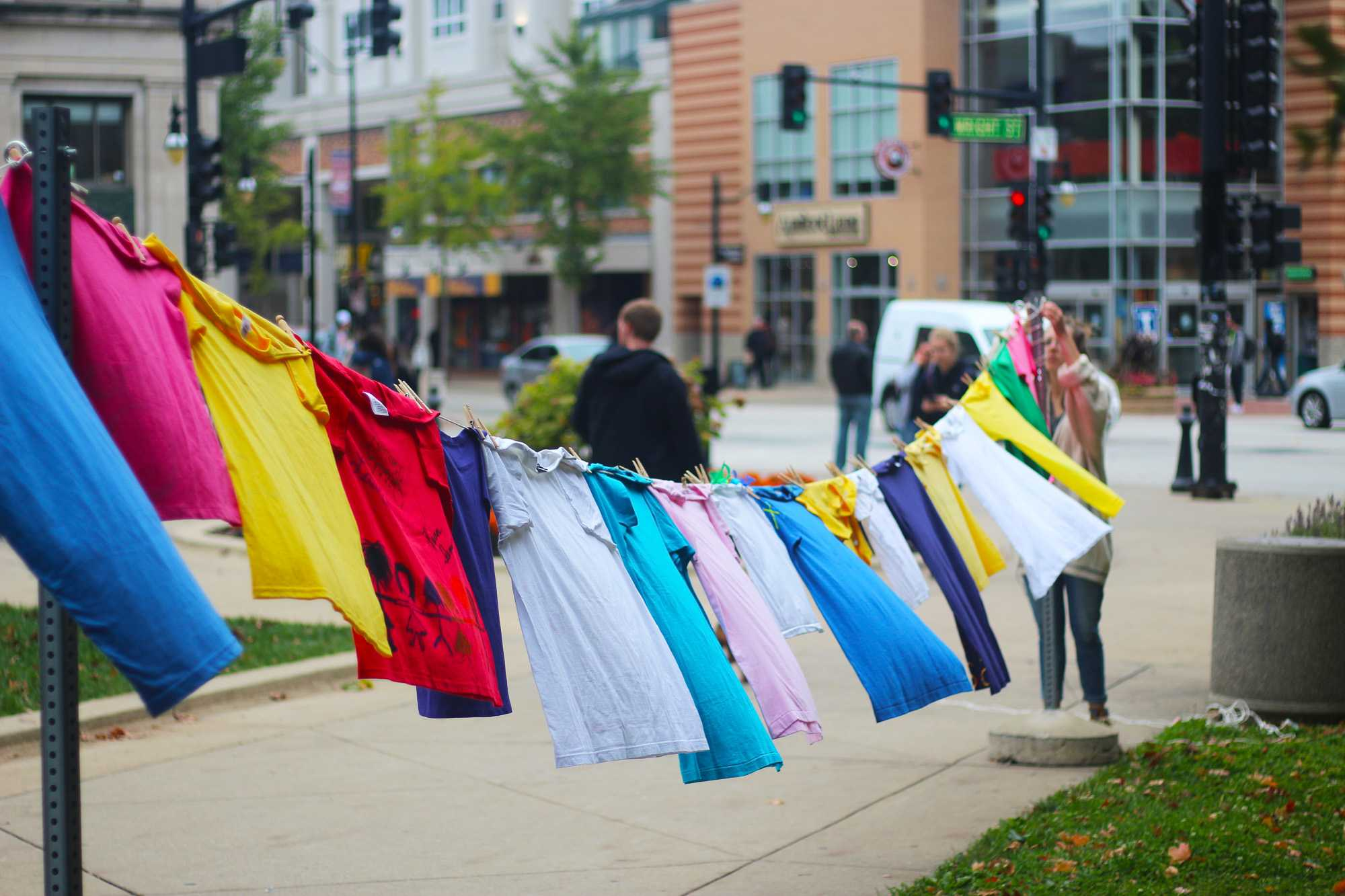 The Clothesline Project served as an anonymous outlet for domestic violence survivors by the Alma Mater on Thursday.