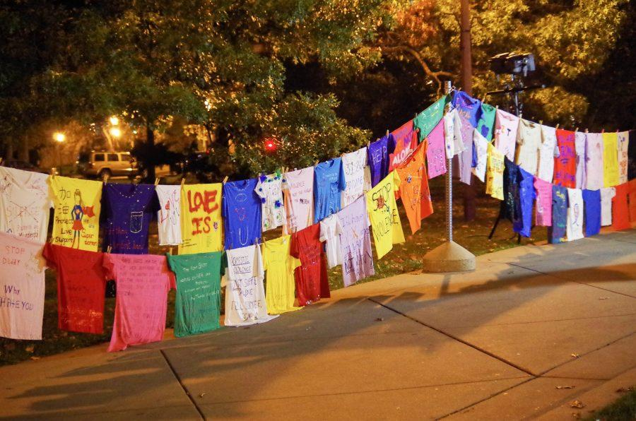 The Clothesline Project displayed shirts that call attention to violence against women. It was displayed in front of Alma Mater on Thursday. These shirts were designed by survivors, families, friends, and victims of violence.