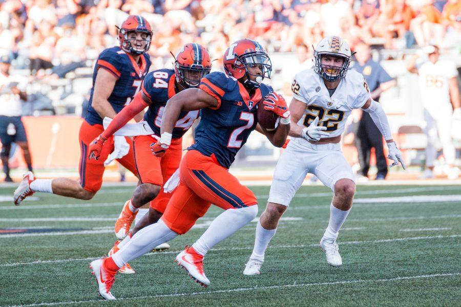 Illinois running back Reggie Corbin (2) runs down the field during the game against Murray State at Memorial Stadium on Saturday, September 3. The Illini won 52-3.