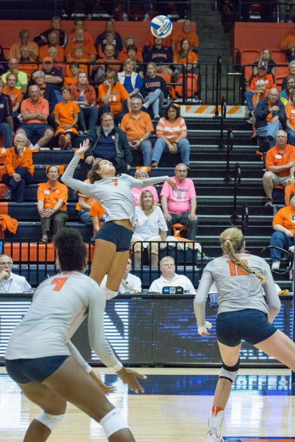 Illinois%27+Jacqueline+Quade+gets+ready+to+hit+the+ball+during+the+match+against+Northwestern+at+Huff+Hall+on+Saturday%2C+October+15.+The+Illini+won+3-0.