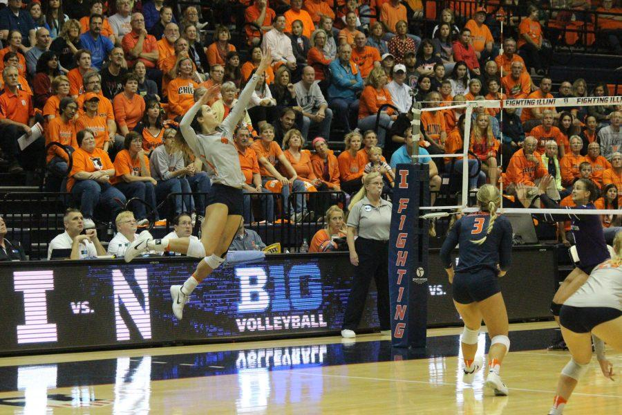 Michelle+Strizak+%284%29+jumps+up+to+serve+the+ball+to+Northwestern%27s+territory+at+Huff+Hall+on+Oct.+15%2C+2016.+Illini+beat+Northwestern+3-0.