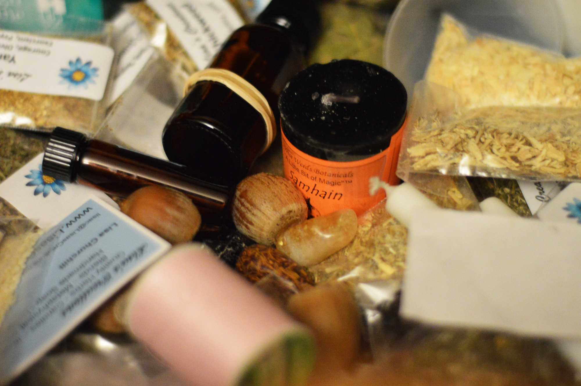 An assortment of herbs and supplies used by Clare Darnall for casting spells and celebrating Samhain.