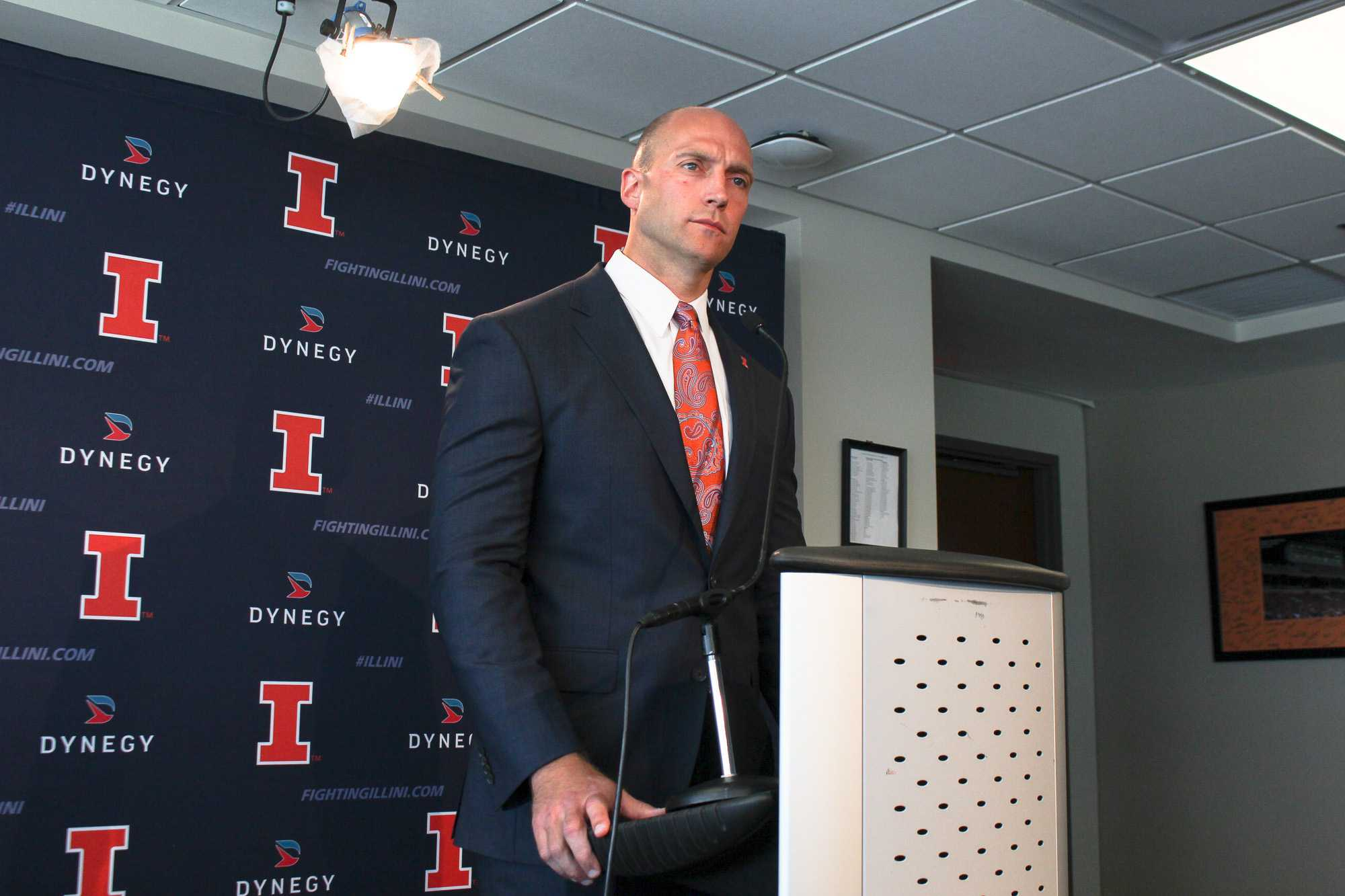 Athletic director Josh Whitman speaks about stadium renovation plans at a press conference in Memorial Stadium on Monday.