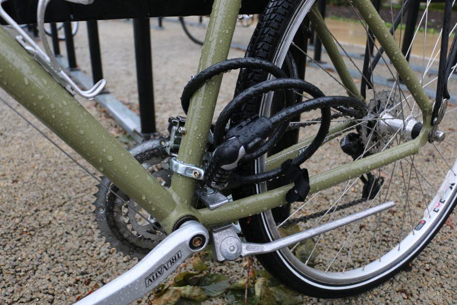 Students lock their bikes in Ikenberry Commons on Thursday, Oct 20, 2016.