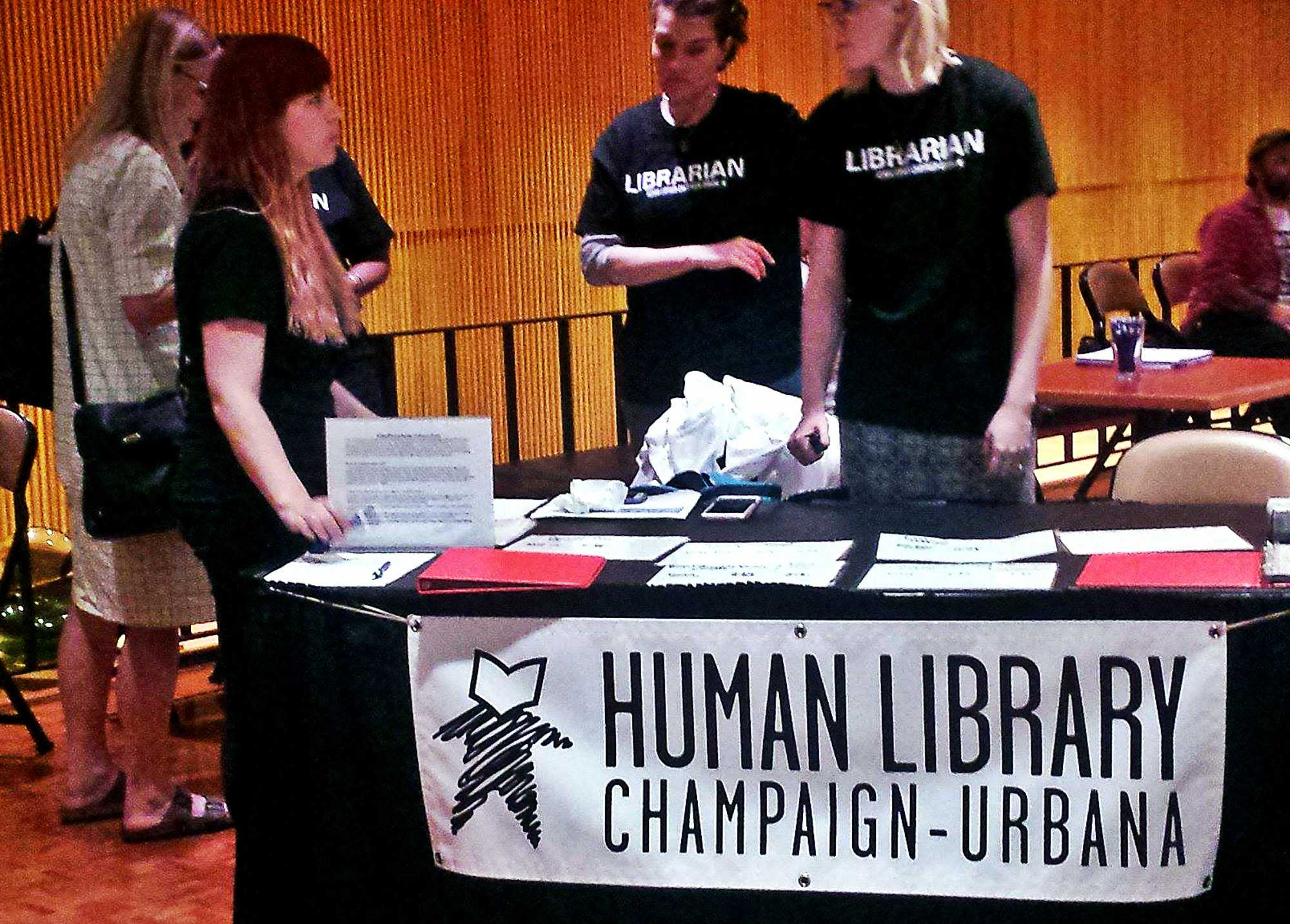 Visitors attend the Human Library event as a part of the Pygmalion Festival at the Krannert Center for Performing Arts.