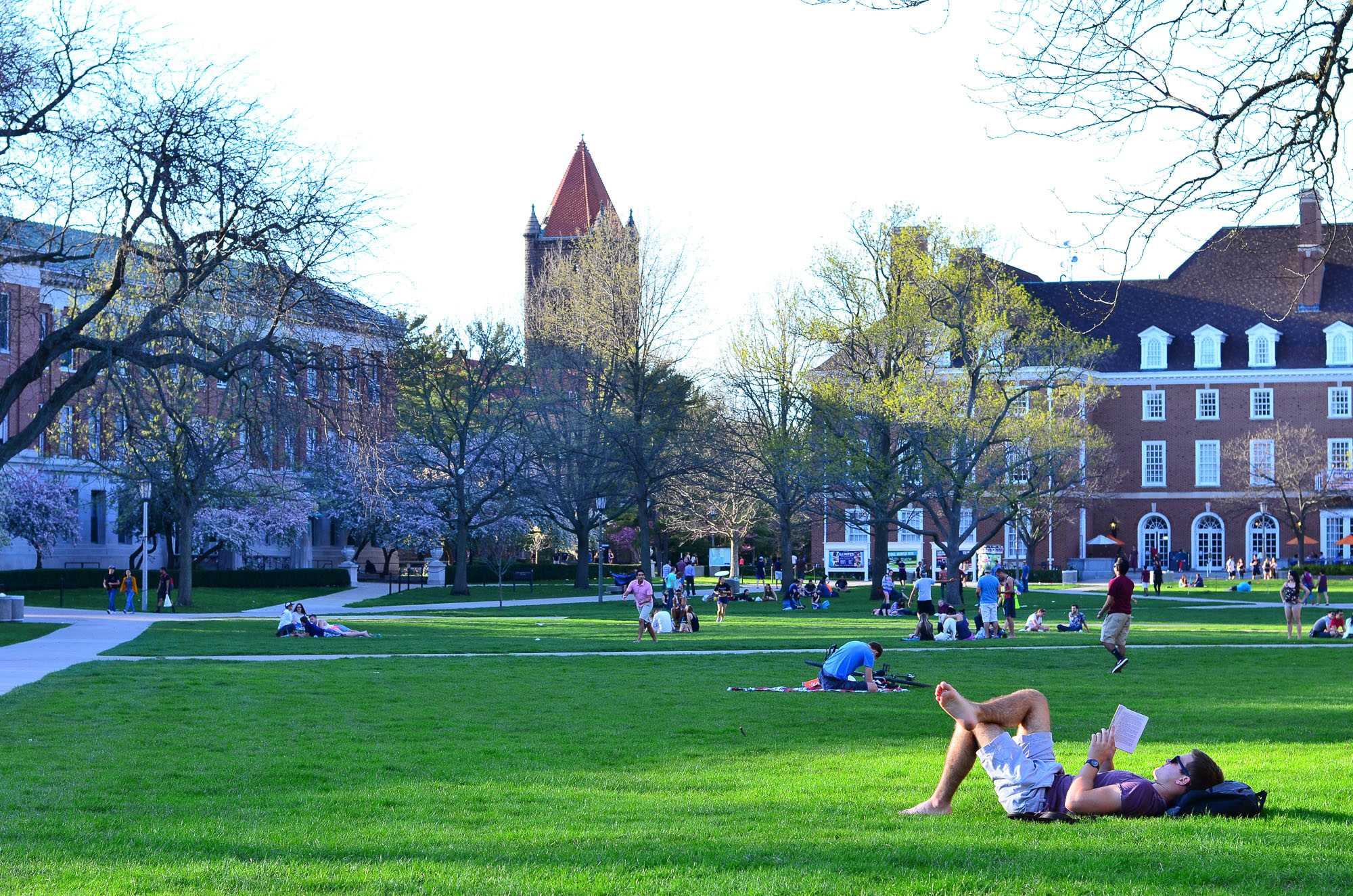 The Main Quad is just one of three on campus. The grassy space is perfect for going with friends to play frisbee or dog watch.