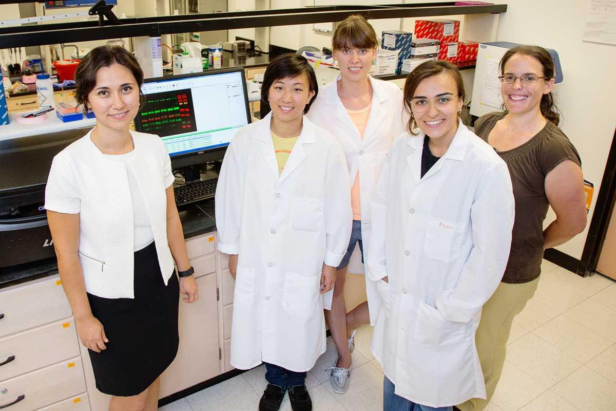 from left: Prof. Zeynep Madak-Erdogan (food science and human nutrition); Karen Chen, graduate student; Kinga Wrobel, graduate student; Eylem Kulkoyluoglu, graduate student; Rebecca Smith, professor of epidemiology