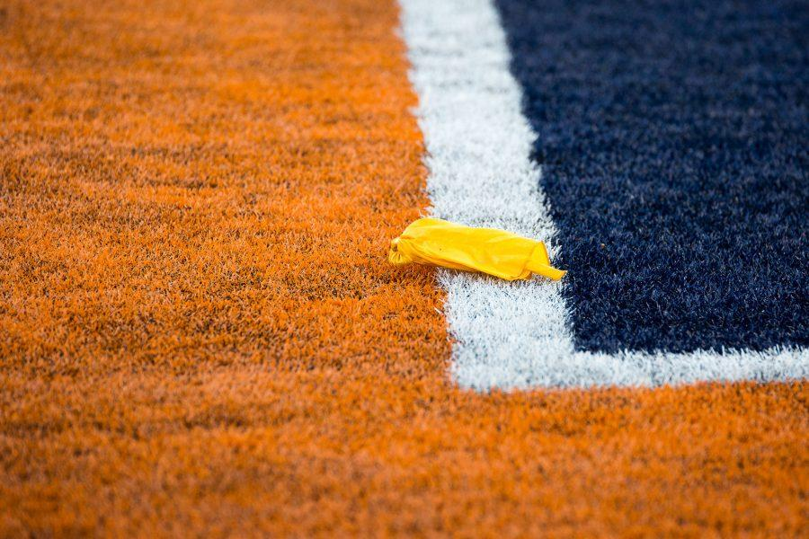 A flag gets called for unsportsmanlike conduct during the game against Purdue at Memorial Stadium on Saturday, October 8. The Illini lost 34-31.