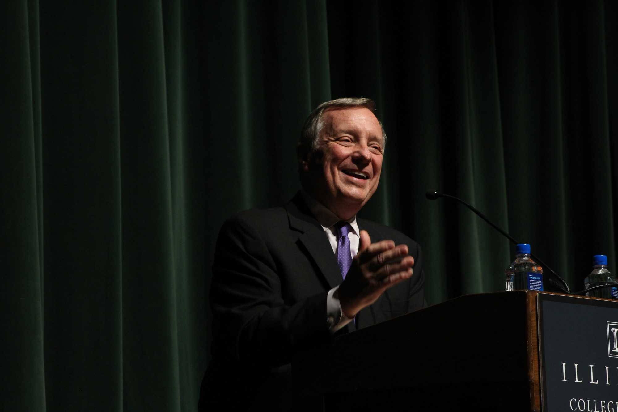 Senator Dick Durbin visits the University of Illinois at Urbana- Champaign on Monday, October 17, 2016.