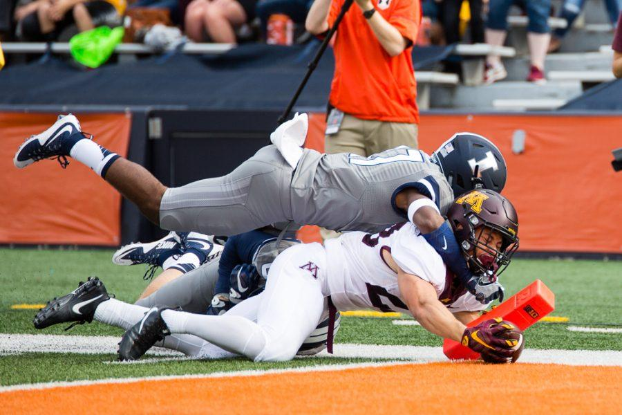 Minnesota running back Shannon Brooks (23) dives into the end zone for a touchdown during the first half of the game against Minnesota at Memorial Stadium on Saturday October 29. The Illini are losing 14-7 at half.