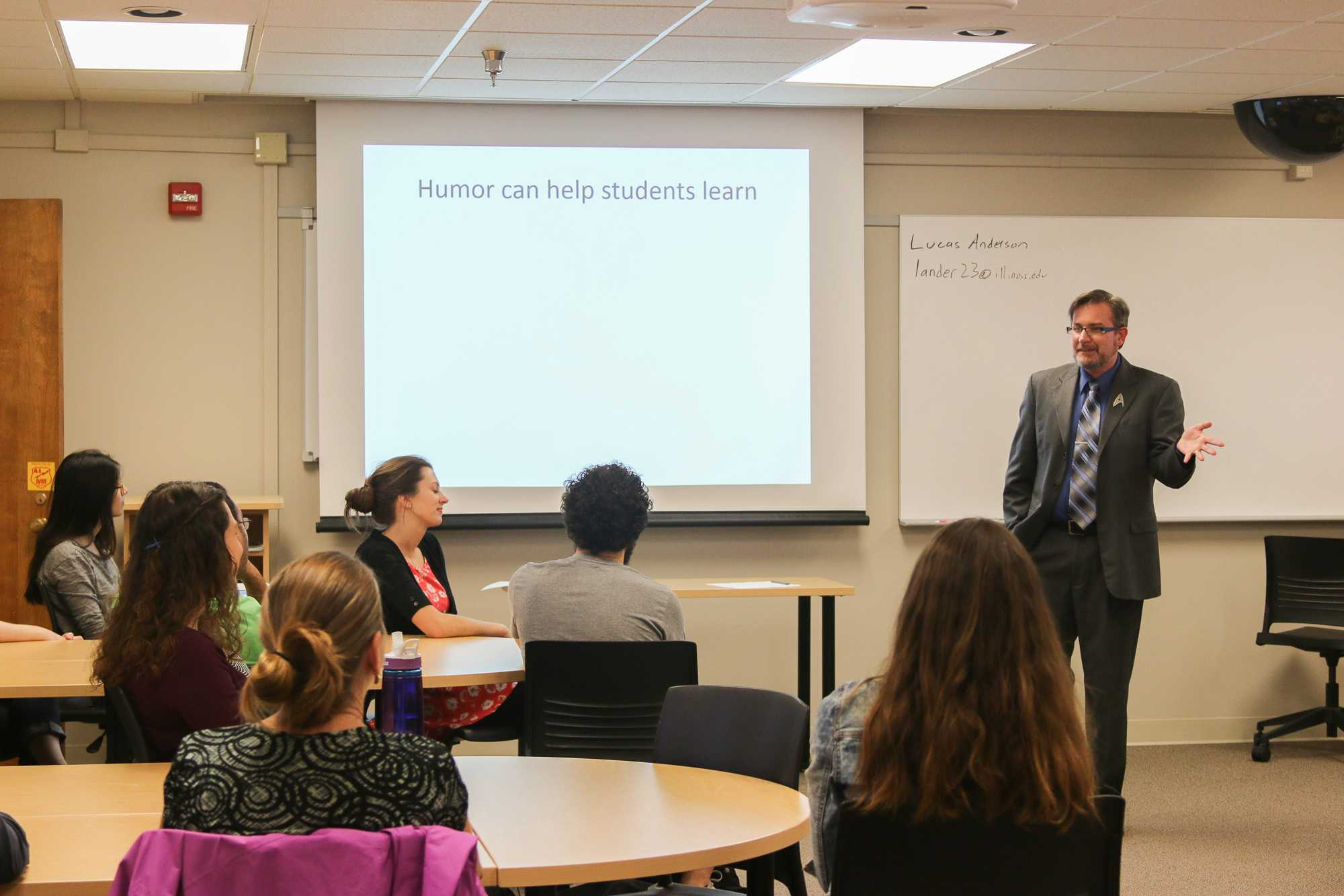 Lucas Anderson, a Specialist in Education and part of The Center for Innovation in Teaching and Learning, presented Make 'em laugh, a workshop on the usage of humor in classrooms on Monday, October 17th 2016.