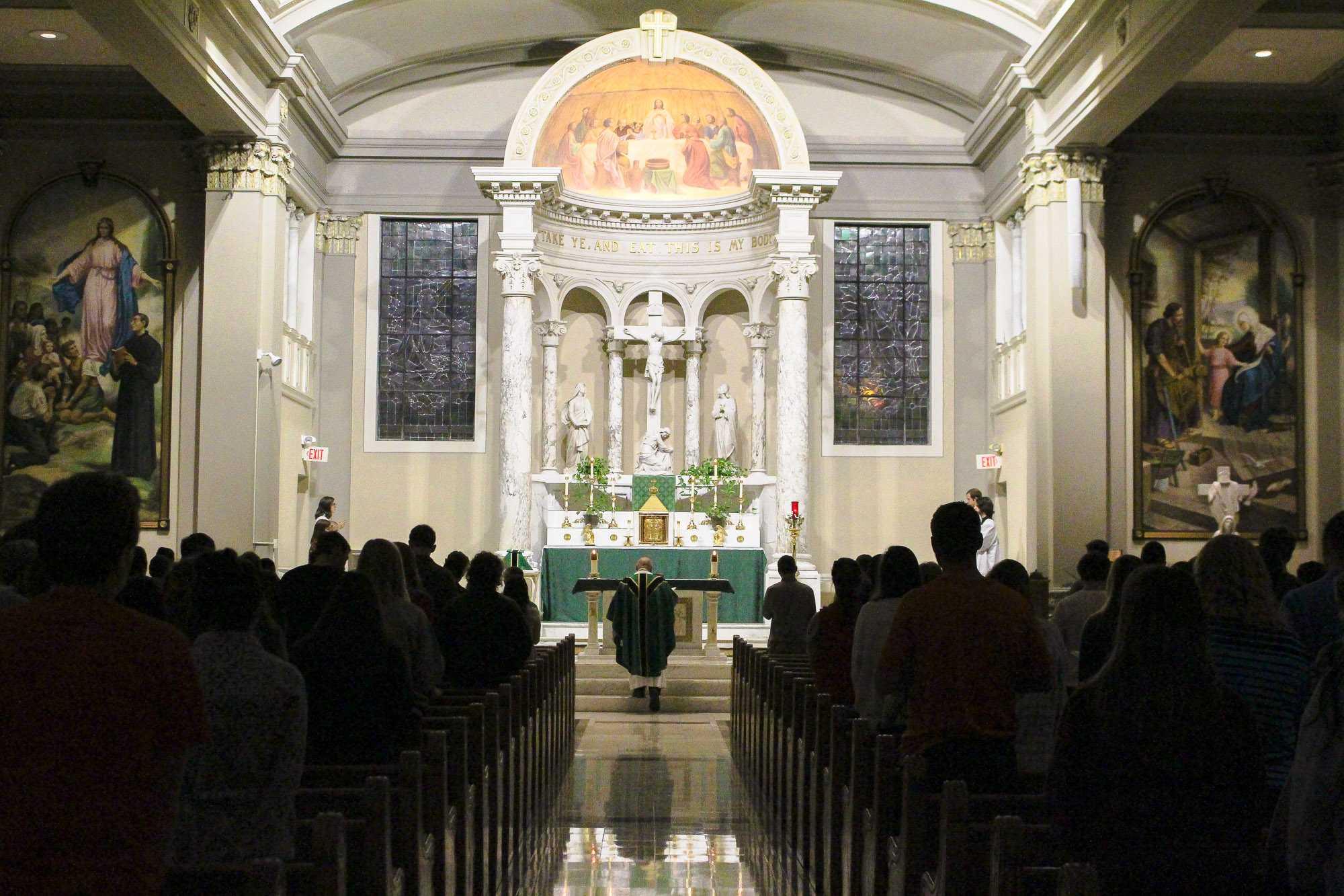 Sunday night mass begins at St. John's Catholic Newman Center.