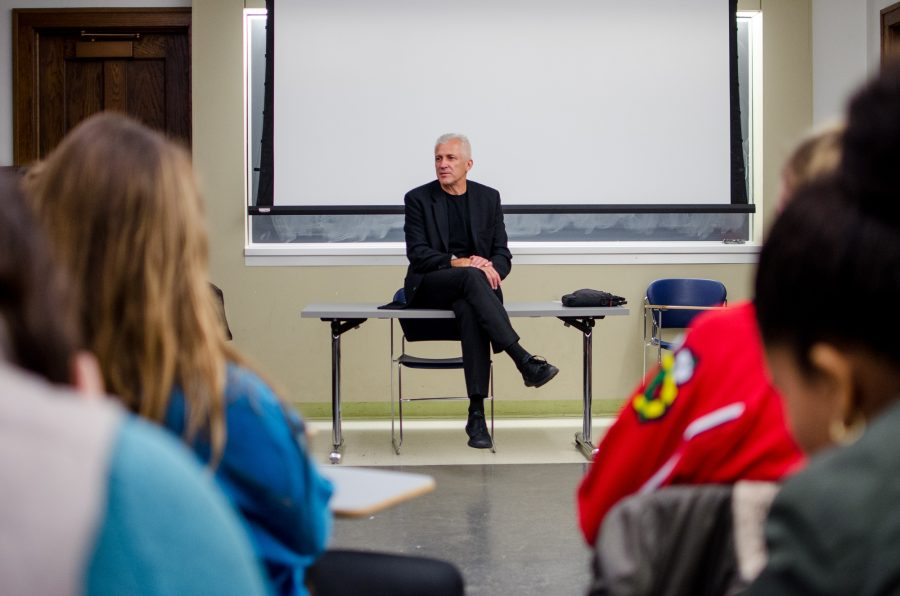 Interim Dean of the College of Media, Wojtek Chodzko-Zajko, speaks with students about their thoughts concerning the future of the college.