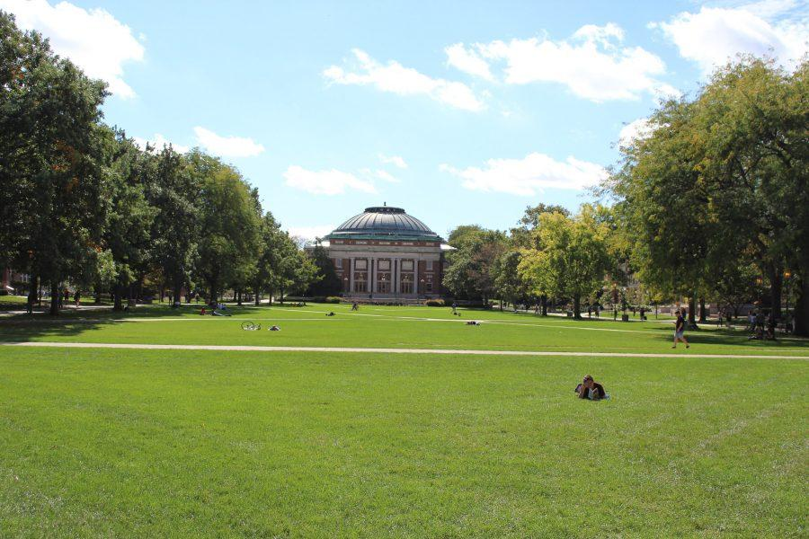 The Quad on a sunny day at the University of Illinois at Urbana-Champaign.