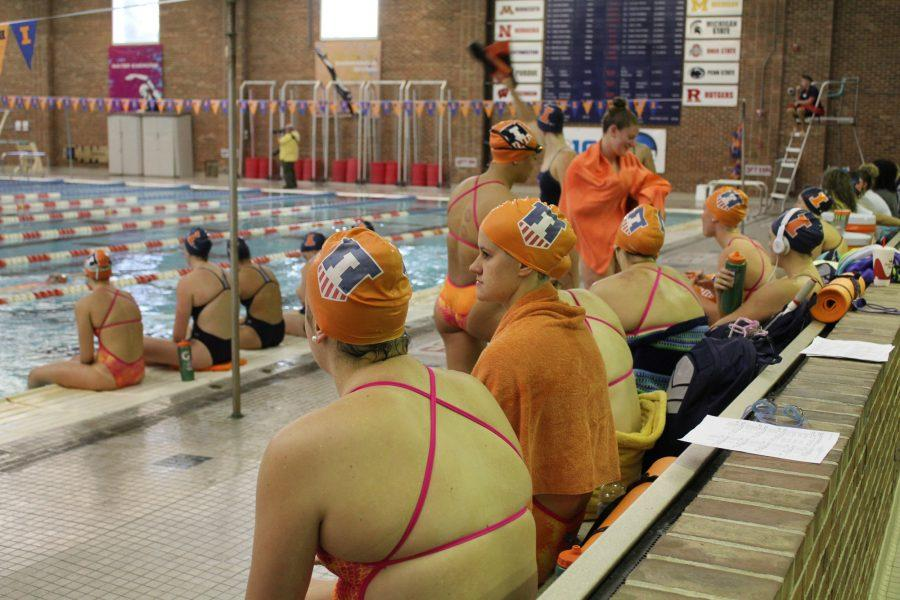 Swimmers+wait+for+the+meet+to+start+at+the+Orange+and+Blue+meet+in+the+ARC+Pool+on+Friday%2C+October+7%2C+2016.