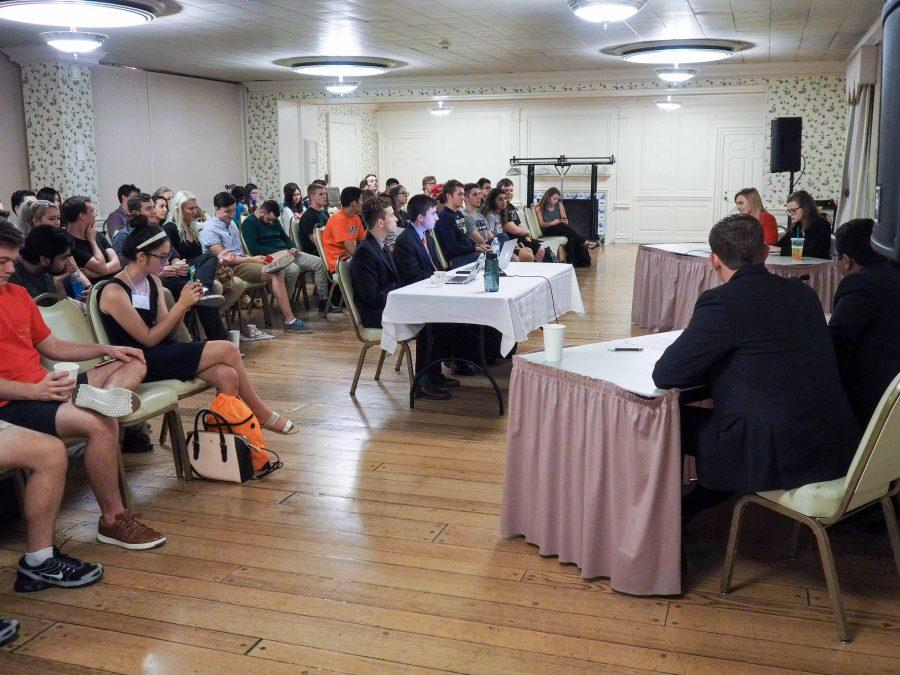 Students attend the Illini Student Senate's Republican-Democratic debate in the Union. October 6, 2016.