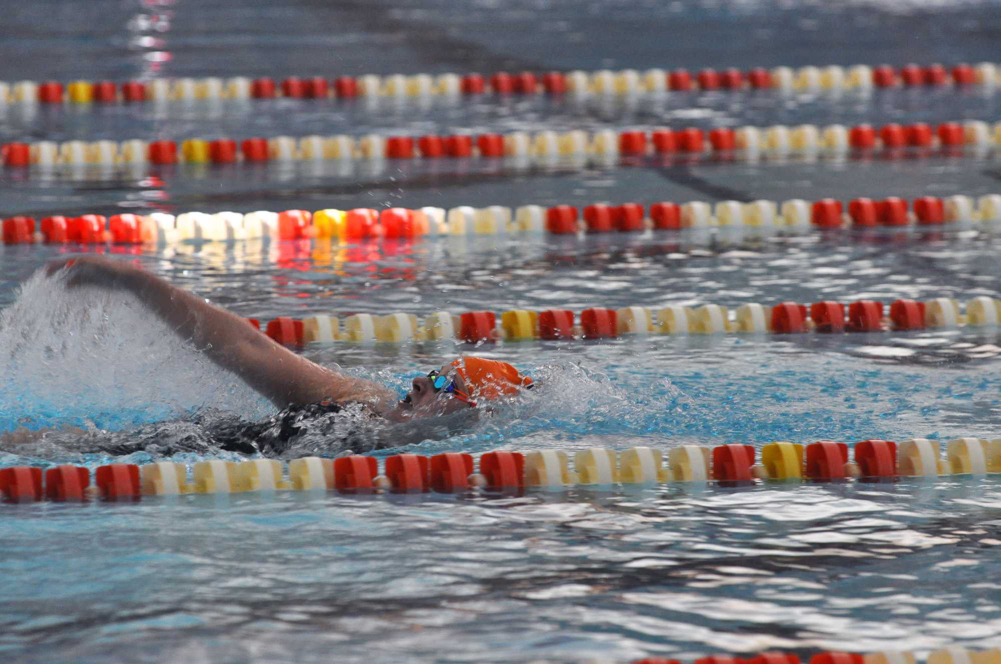 Sam Stratford, sophomore, swims backstroke in the 400 yard IM at the Fighting Illini Dual Meet Spectacular in the ARC Pool on October 16, 2015.