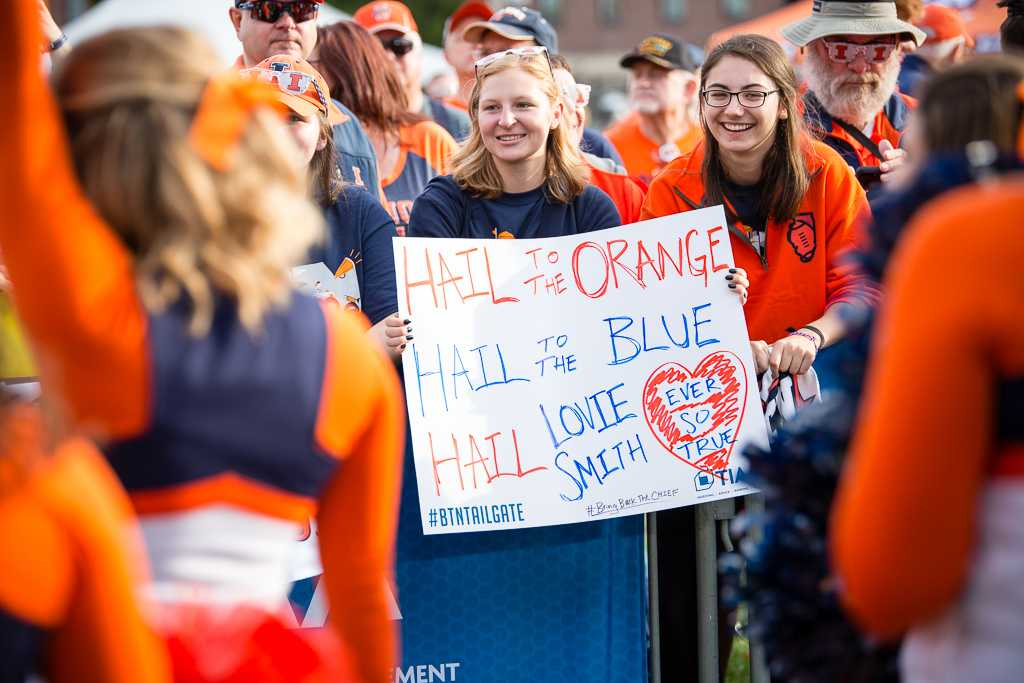 Illini fans hold up a sign during the Big Ten Tailgate before the game against Minnesota at Memorial Stadium on Saturday October 29.