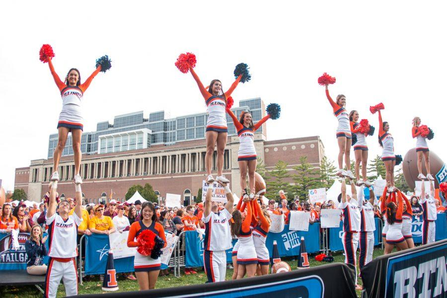 Cheerleaders+perform+during+the+Big+Ten+Tailgate+before+the+game+against+Minnesota+at+Memorial+Stadium+on+Saturday+October+29.