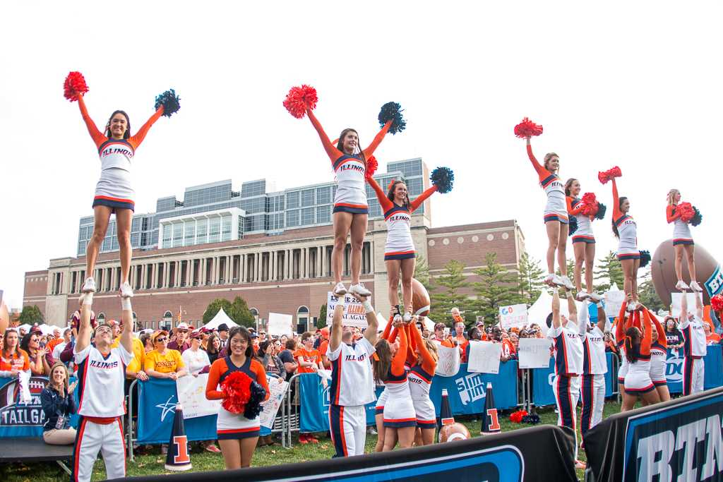 Cheerleaders perform during the Big Ten Tailgate before the game against Minnesota at Memorial Stadium on Saturday October 29.