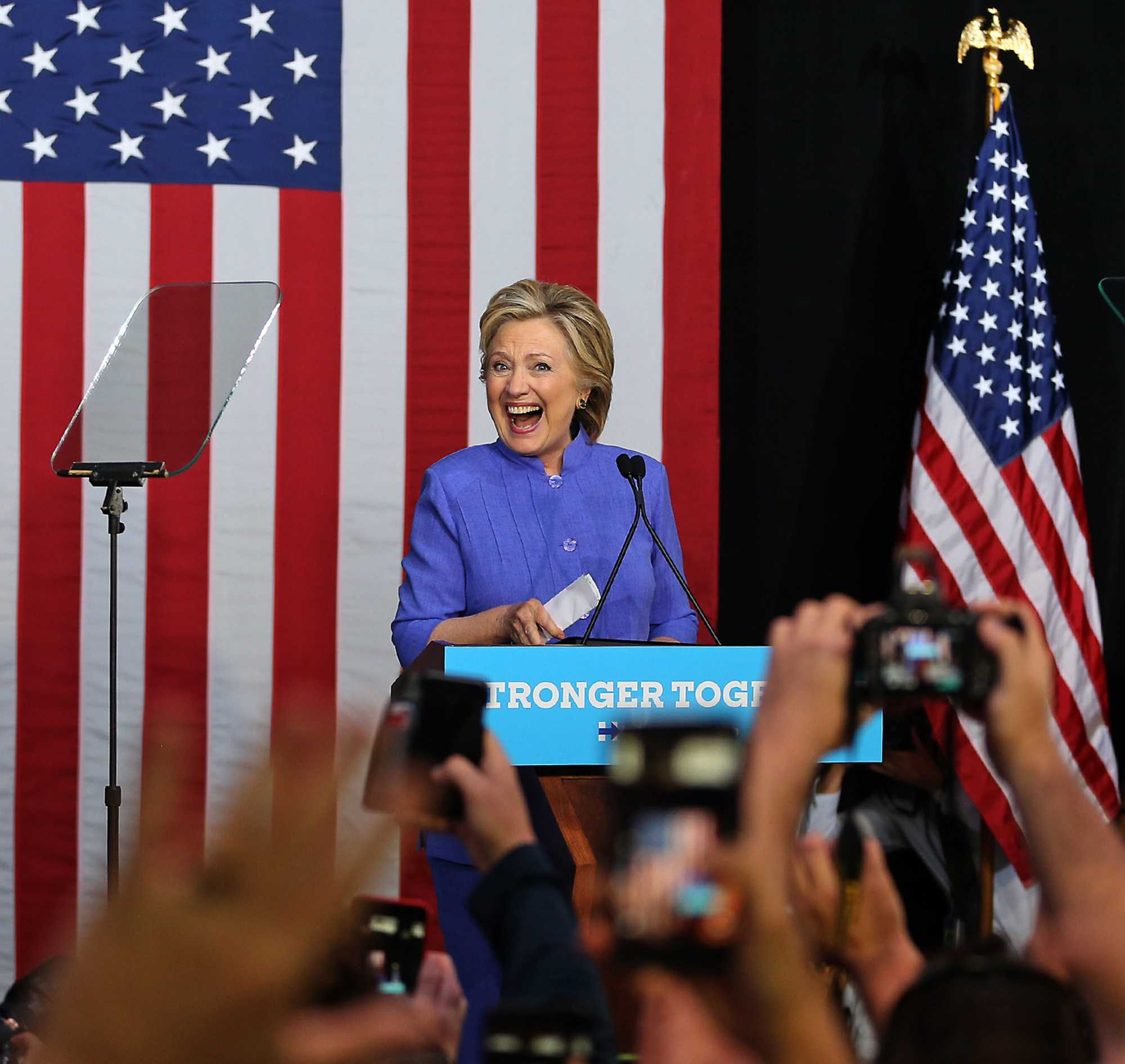 Democratic presidential nominee Hillary Clinton holds a rally on Sunday at The Manor Complex in Wilton Manors, Fla.