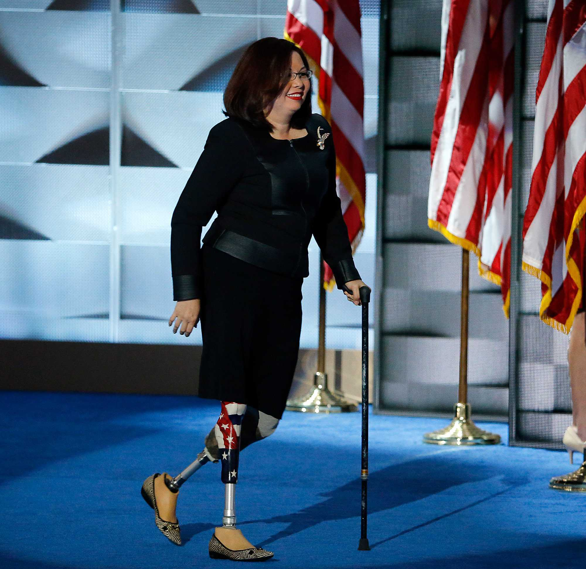 Illinois Rep. Tammy Duckworth walks to the stage to address delegates during the last day of the Democratic National Convention at the Wells Fargo Center in Philadelphia on Thursday, July 28, 2016. (Michael Bryant/Philadelphia Inquirer/TNS)