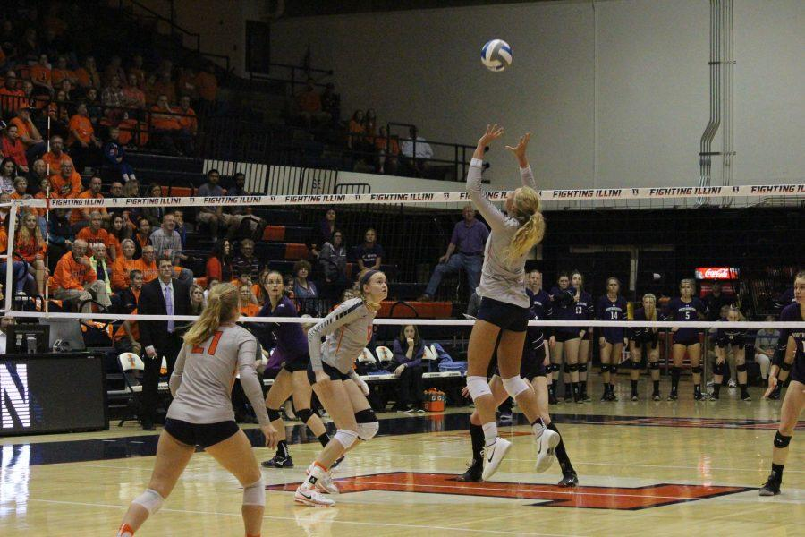 Jordyn Poulter (1) jumps up setting the ball for her teammate to spike against Northwestern at Huff Hall on Oct. 15, 2016. Illini beat Northwestern 3-0.