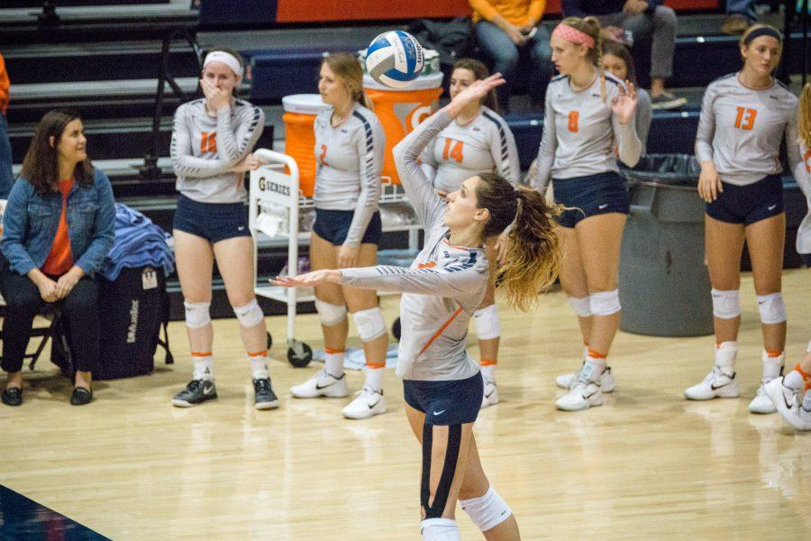 Illinois%27+Michelle+Strizak+serves+the+ball+during+the+match+against+Northwestern+at+Huff+Hall+on+Saturday%2C+October+15.+The+Illini+won+3-0.