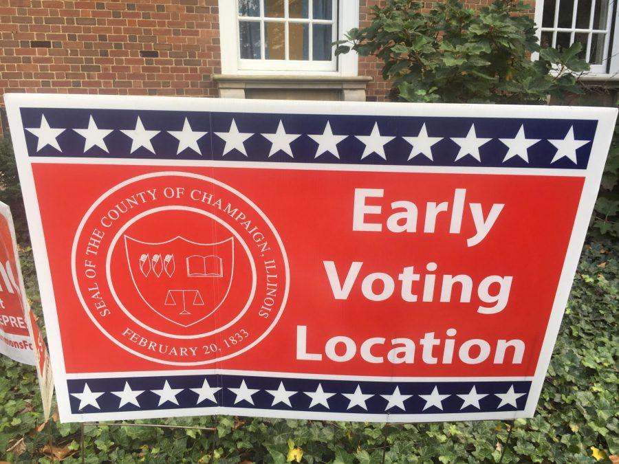 A+sign+outside+the+Illini+Union.+Early+voting+is+now+running+in+the+Illini+Union+Federal+Room+in+the+basement+until+Nov.+6.+