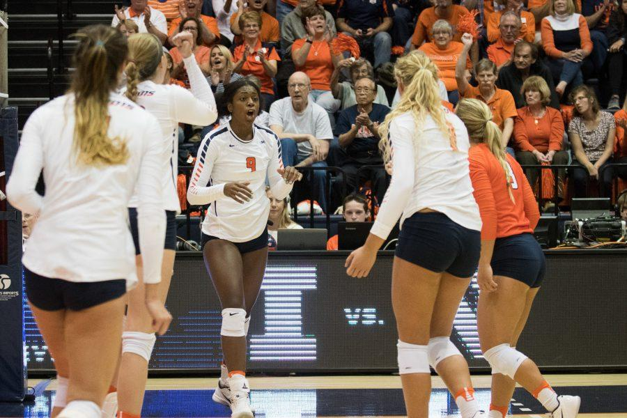 Illinois%27+Naya+Crittenden+celebrates+a+point+during+the+game+against+Nebraska+on+9-28-16.++The+Illini+lost+0-3.