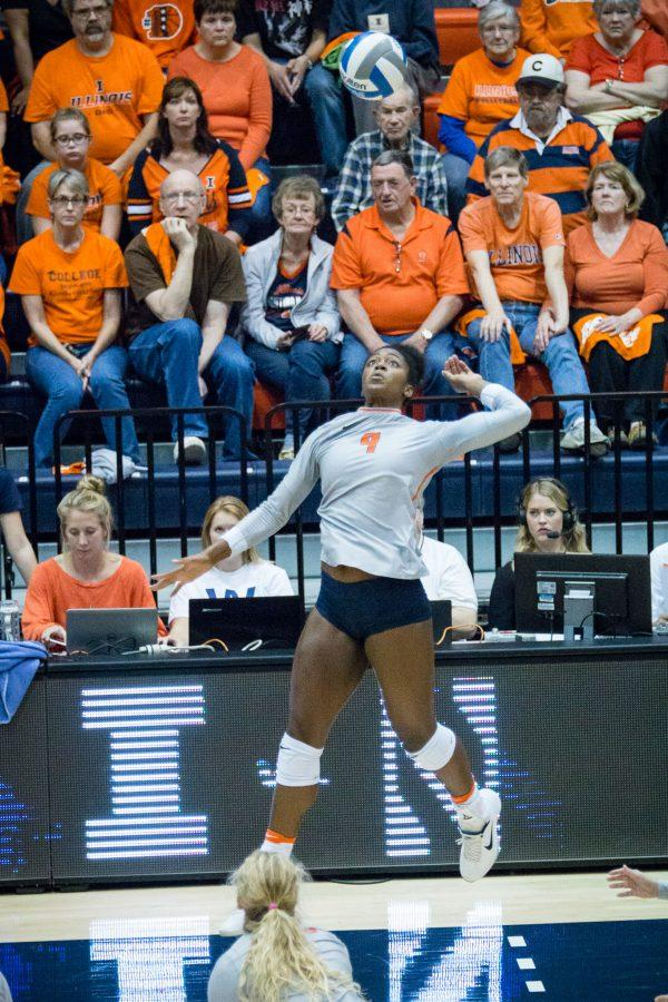 Illinois%27+Naya+Crittenden+gets+ready+to+hit+the+ball+during+the+match+against+Northwestern+at+Huff+Hall+on+Saturday%2C+October+15.+The+Illini+won+3-0.