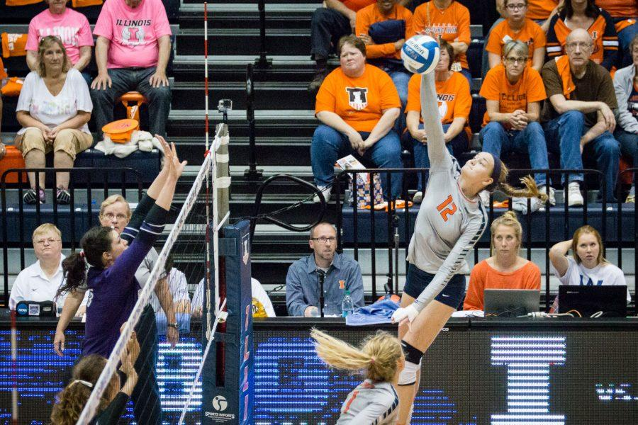 Illinois%27+Katie+Stadick+hits+the+ball+during+the+match+against+Northwestern+at+Huff+Hall+on+Saturday%2C+October+15.+The+Illini+won+3-0.