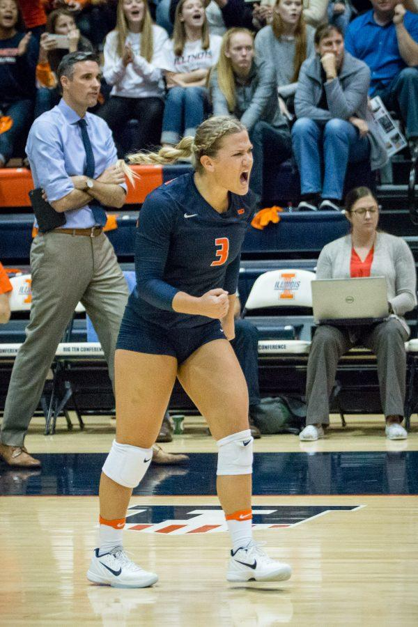 Illinois%27+Brandi+Donnelly+celebrates+after+a+kill+during+the+match+against+Northwestern+at+Huff+Hall+on+Saturday%2C+October+15.+The+Illini+won+3-0.